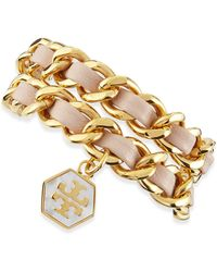 Tory Burch Woven Leather Chain Wrap Bracelet - Lyst