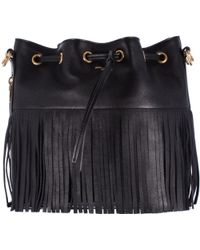 "Saint Laurent Black Leather Fringe ""Emmanuelle"" Tote Bag - Lyst"