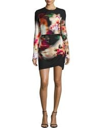 Elie Saab | Watercolor Floral-Print Side-Draped Dress | Lyst