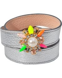 Shourouk Triple Wrap Beedis Bracelet - Metallic
