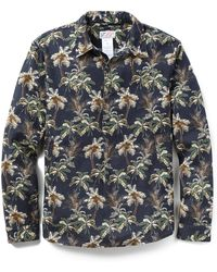 Garbstore Palm Print Cropper Shirt blue - Lyst