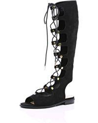 River Island Black Faux Suede High Leg Gladiator Sandals black - Lyst