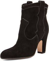 Gianvito Rossi Western Pearl Suede Booties - Lyst