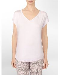 Calvin Klein Underwear Cotton Modal V-Neck Cap Sleeve Pajama Top - Lyst