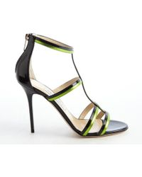Jimmy Choo Black And Lime Patent Leather T-Strap 'Thistle' Sandals - Lyst