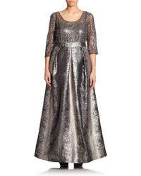 Kay Unger Sequined Metallic Gown - Lyst