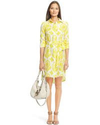 Diane von Furstenberg Vera Habotai Printed Silk Shirt Dress - Lyst