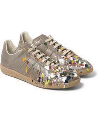Maison Martin Margiela Paint Splash Leather Sneakers - Lyst