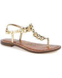 Sam Edelman 'Grella' Leather & Chain Link Thong Sandal - Lyst