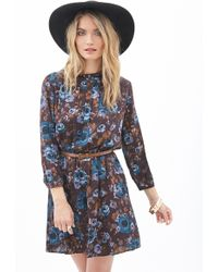 Love 21 Floral Print Mock Neck Dress - Lyst