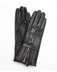 French Connection Black Leather Zipped Up Gloves - Lyst