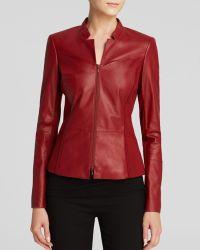 Lafayette 148 New York Denver Leather Jacket - Red