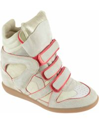 Isabel Marant Sneaker Alta Donna In Camoscio Beige - Lyst