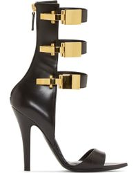 Versus  Black Leather Calf_high Anthony Vaccarello Edition Sandals - Lyst