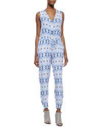 Charlie Jade Printed Tie-Waist Jumpsuit - Lyst