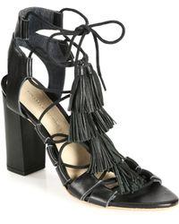 Loeffler Randall Tasseled Lace-Up Leather Sandals black - Lyst