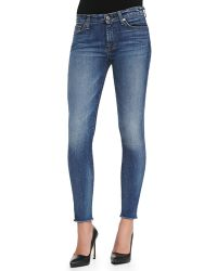 7 For All Mankind The Ankle Skinny Destroyed Rawhem Jeans - Lyst