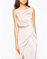Asos Tall | Twist Bodycon Dress With Embellished Waist | Lyst