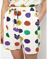 House of Holland - Pom Spot Silk Shorts - Lyst