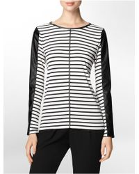 Calvin Klein White Label Faux Leather Trim Striped Top - Lyst