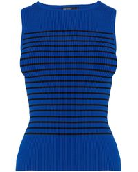 Karen Millen Stripe Rib Knit Top - Lyst