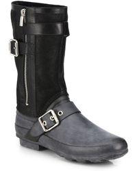 Burberry Clardon Mid-Calf Rubber Moto Boots black - Lyst