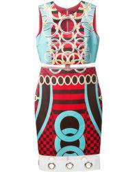 Versace Eyelet Silk Tube Dress multicolor - Lyst