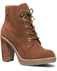 Michael Kors Kim Leather Laceup Ankle Boot - Lyst
