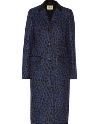 Sea Leopard Print Wool Blend Coat - Lyst