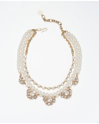 Ann Taylor Heirloom Pearl and Crystal Necklace - Lyst