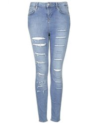 Topshop Moto Salt and Pepper Ripped Jamie Jeans  Blue - Lyst