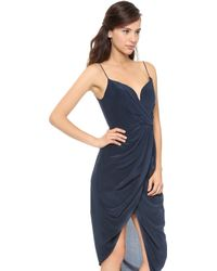 Zimmermann Silk Plunge Draped Dress Mist - Lyst