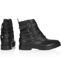Topshop Womens Apply Biker Boots  Black - Lyst