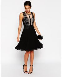 Coast Damaris Dress With Pleated Skirt And Scallop Lace Detail - Lyst