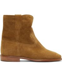 Isabel Marant Camel Tan Suede Crisi Ankle Boots - Lyst