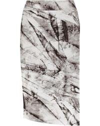 Helmut Lang Terrene Printed Stretch-Jersey Skirt - Lyst