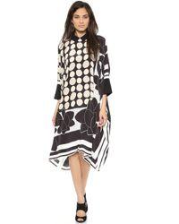 Issa Maya Poncho Dress Multi - Multicolour