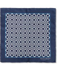 Gieves & Hawkes Patterned Silk Pocket Square - Blue