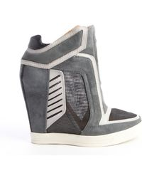 L.a.m.b. Grey Textured Leather Freeda Mesh Accent Wedge Sneakers - Lyst