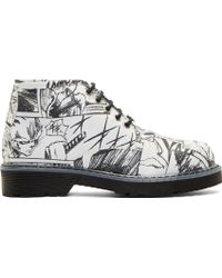 McQ by Alexander McQueen Black and White Manga Martin Boots - Lyst