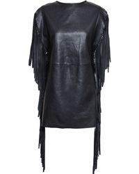 Saint Laurent Fringed Black Leather Dress - Lyst