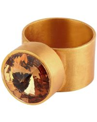 V By Valkeniers Large Gold Plated Ring With Swarovski Stone - Lyst