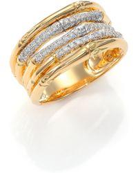 John Hardy Bamboo Diamond & 18K Yellow Gold Five-Row Ring gold - Lyst