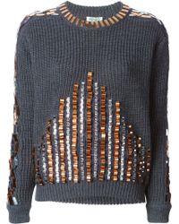 Kenzo Gray Embellished Sweater - Lyst