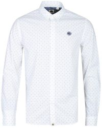 Pretty Green - Slim Fit White Polka Dot Shirt - Lyst