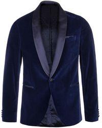 BOSS Hugo Nemir Blue Shawl-collar Velvet & Silk Tuxedo Jacket