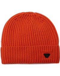 Armani Jeans - Orange Woollen Rib Knit Beanie Hat - Lyst