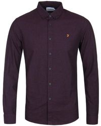 Farah Damson Purple Steen Long Sleeve Shirt
