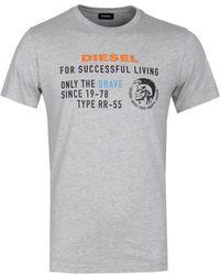 DIESEL T-diego Xb Grey Logo T-shirt
