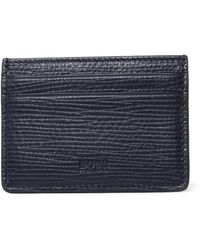 HUGO - Timeless Navy Grained Leather Cardholder - Lyst